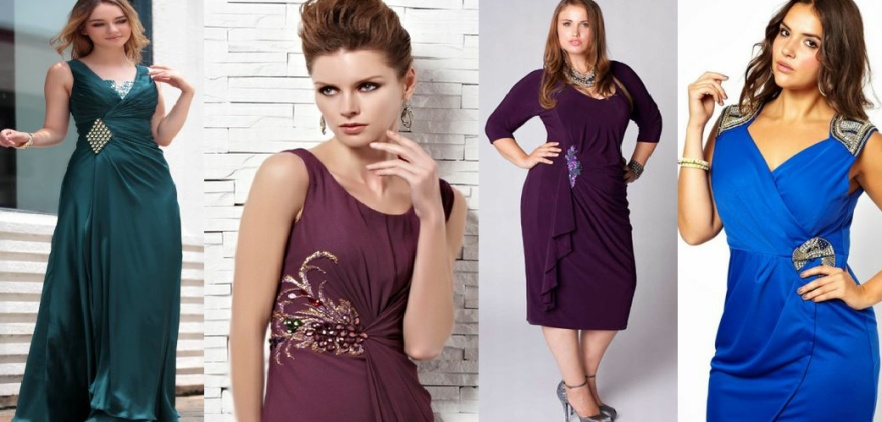 Нарядные платья для полных с декоративной пряжкой
