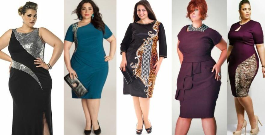 Нарядные платья для полных с контрастными вставками