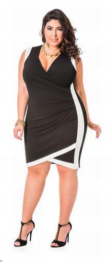 Модели нарядных платьев для полных с контрастными вставками