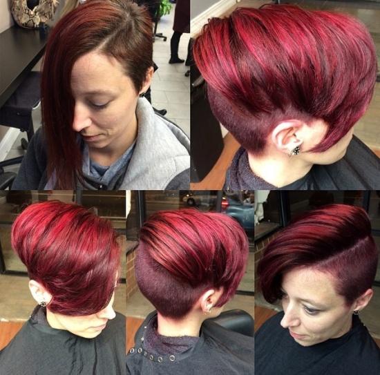 асимметрия на огненно-рыжих волосах выбритый затылок и виски