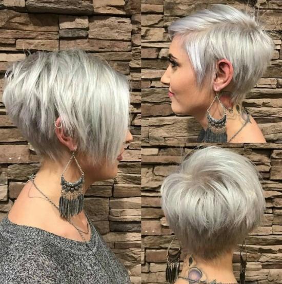стрижка пикси блонд с длинной челкой