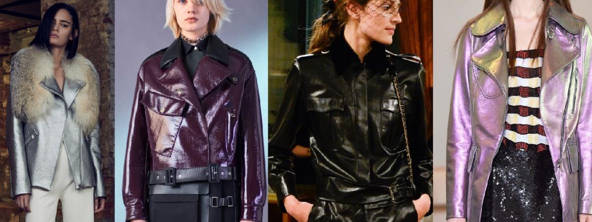 Фото женских моделей молодежных курток 2017 - дизайнерские куртки из блестящей кожи