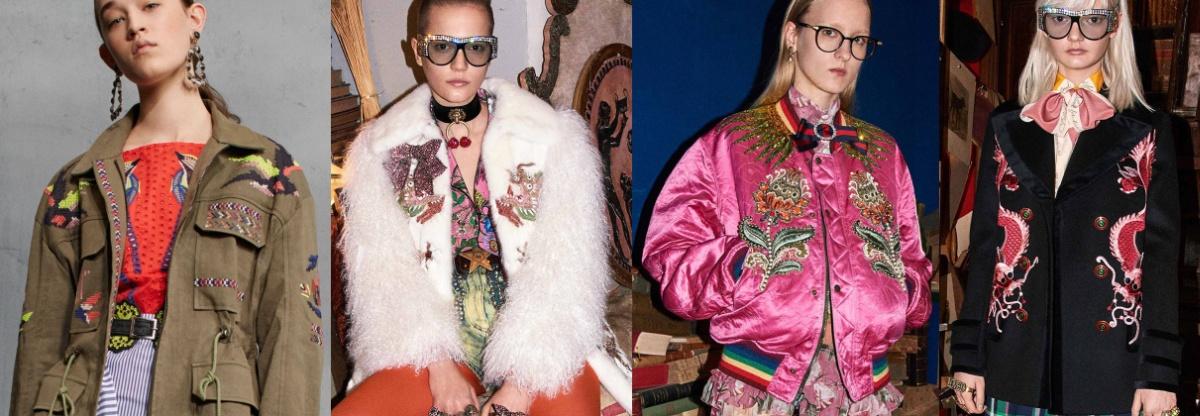 брендовые осенние куртки 2017 с вышивкой и аппликациями