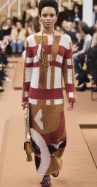 платье-свитер макси с крупными цветными полосами