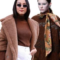 Зимняя одежда коричневого цвета. С чем ее сочетать, примеры, фото