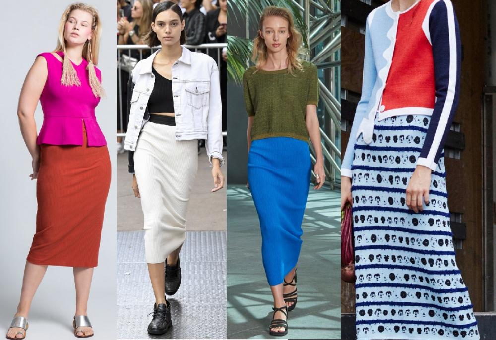 Модные трикотажные юбки 2018 - фото