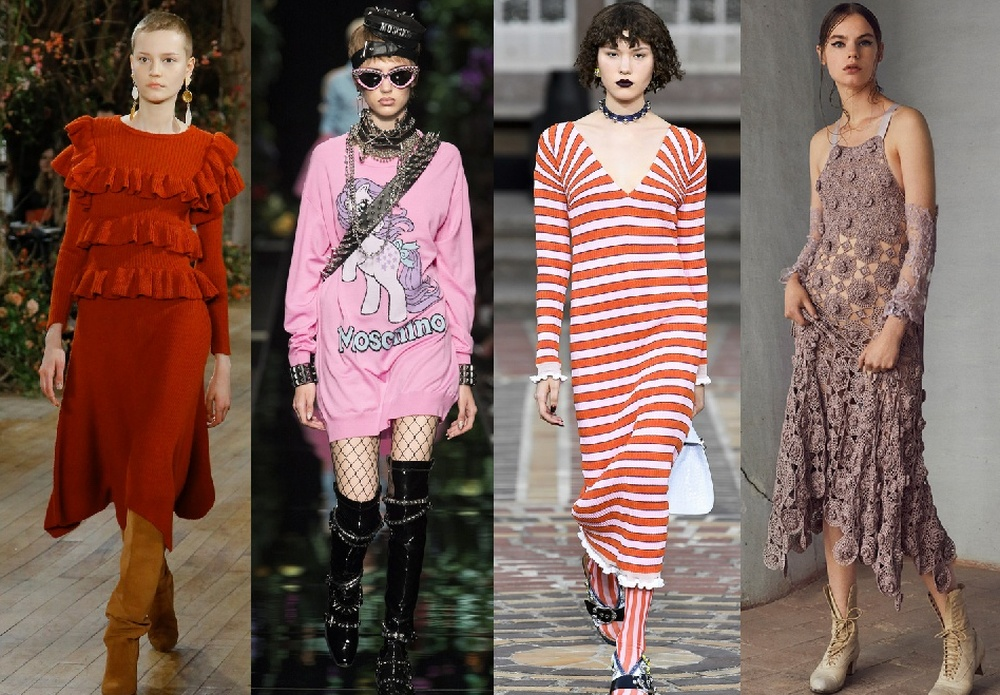 Модные детали трикотажных платьев 2018 года: воланообразный подол, кружевная вязка, оборки, платье-свитер, винтаж