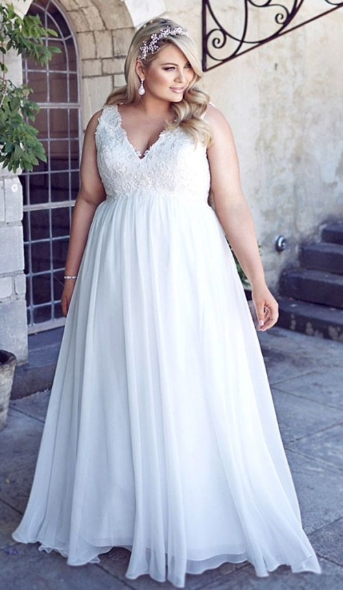 красивое голубое платье для полной девушки с завышенной талией и кружевныи верхом