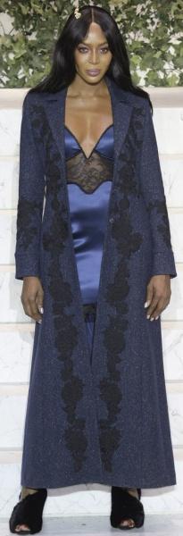 Синее пальто макси с аппликацией от La Perla