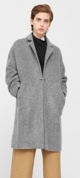 серое пальто из плотной шерсти в мужском стиле