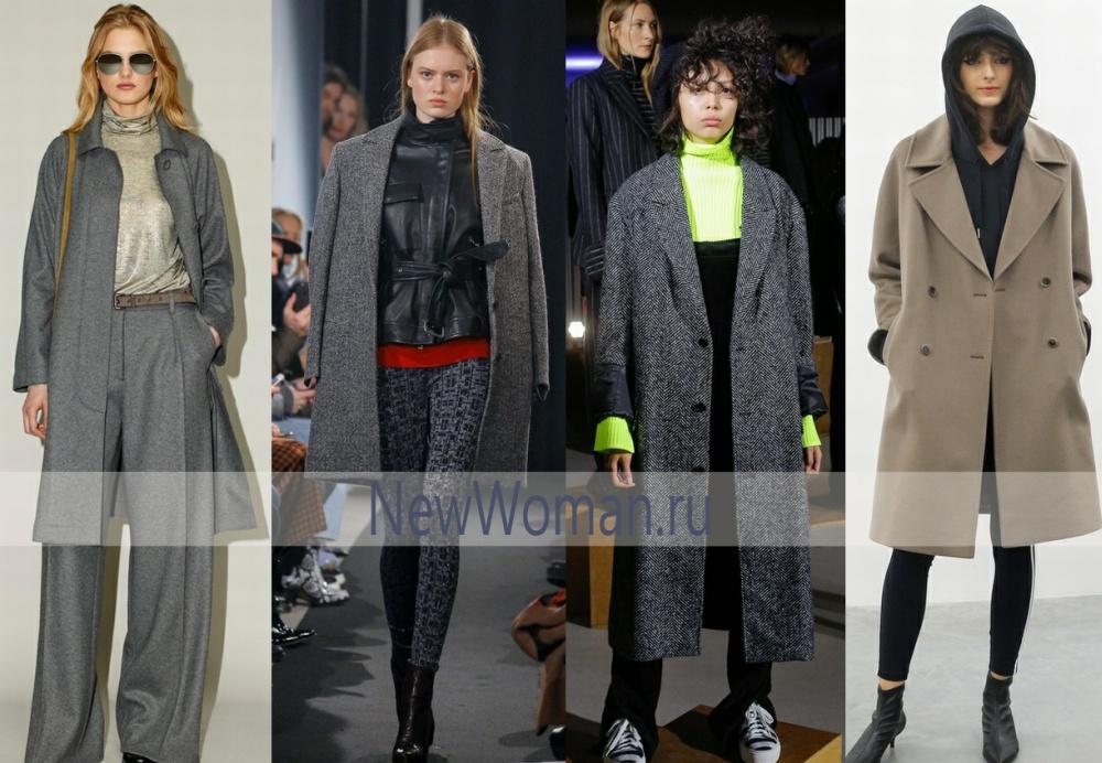 Модное серое пальто на осень 2017