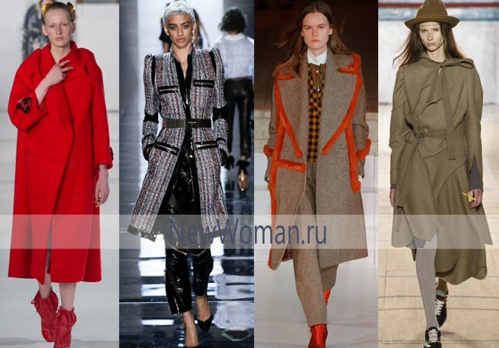 Декор модных осенних пальто 2017: броши, блестящие ремни и молнии, яркая окантовка, банты
