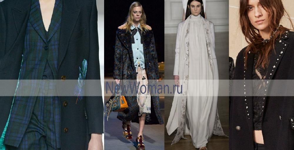 Модная отделка весенних пальто - аппликации, пайетки, вышивка