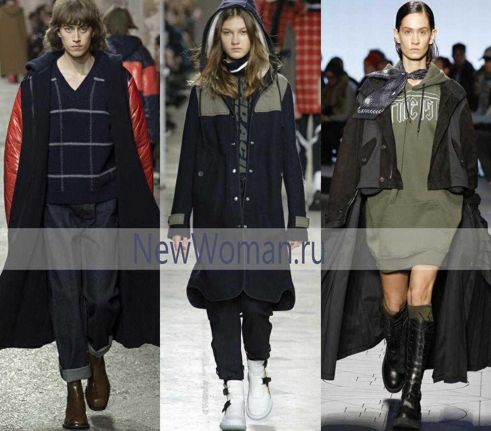 Комбинированные из разных тканей модели пальто