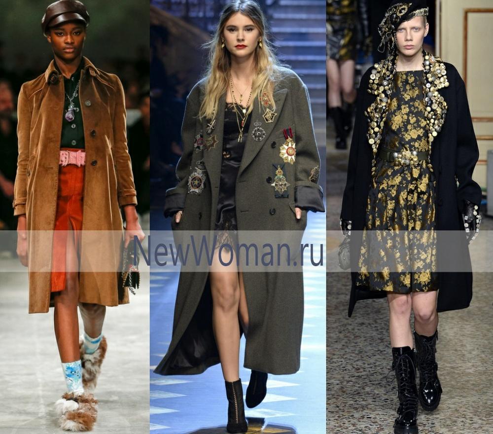 Из какой ткани сшиты дизайнерские пальто осень зима 2017 2018 - замша, сукно, бархат