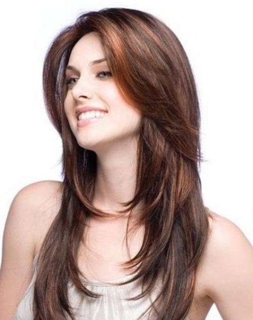 Стрижки на длинные волосы женские с челкой