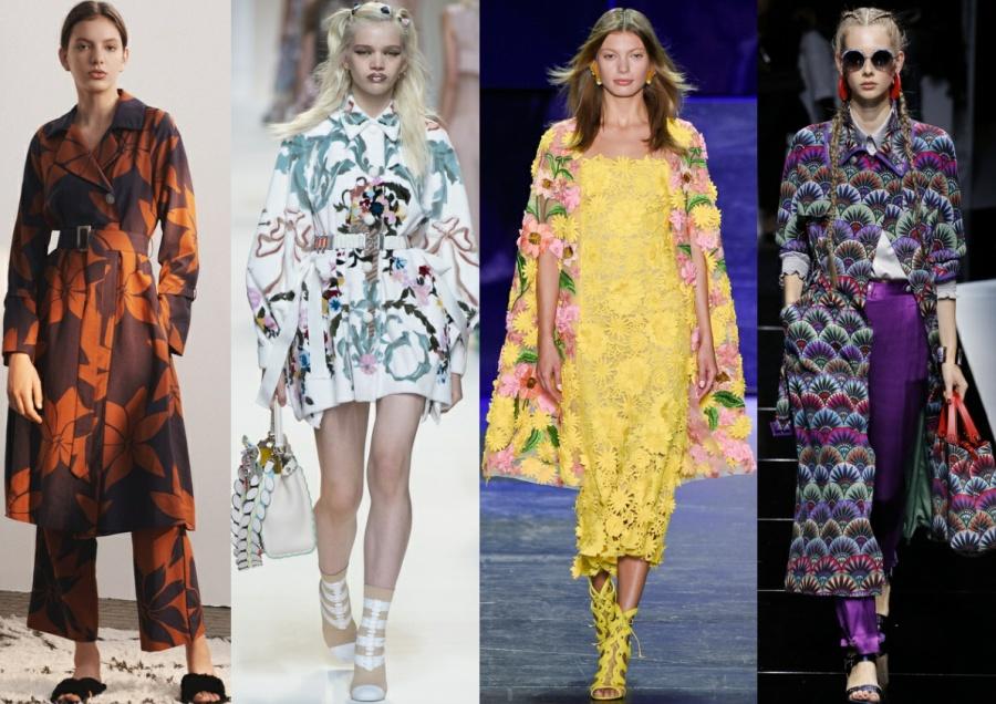 Весна-лето 2017 модные плащи с цветочным рисунком