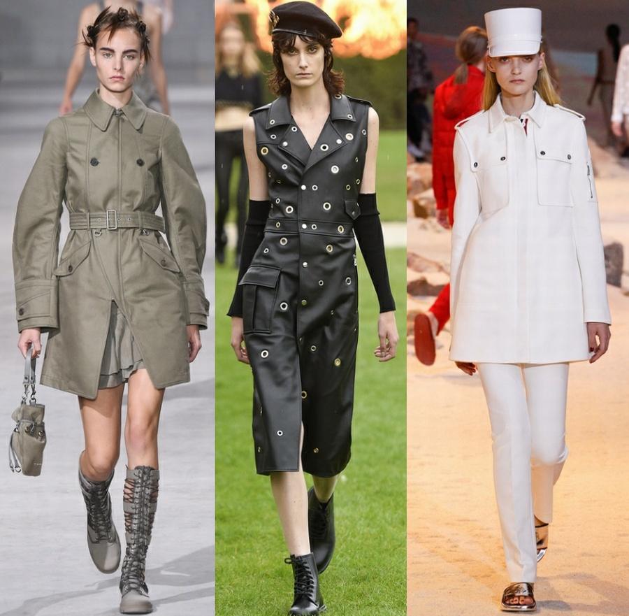 плащ весна-лето-осень 2017 модный тренд - военный стиль