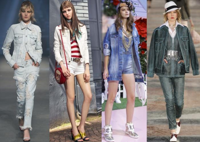 джинсовый костюм в комплекте куртка с джинсами и шортами