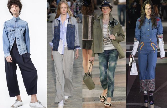 Джинсовая куртка в сочетании с брюками