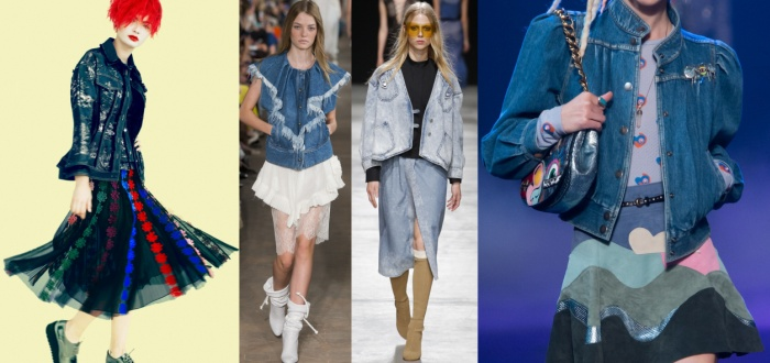 Джинсовая куртка в сочетании с юбкой