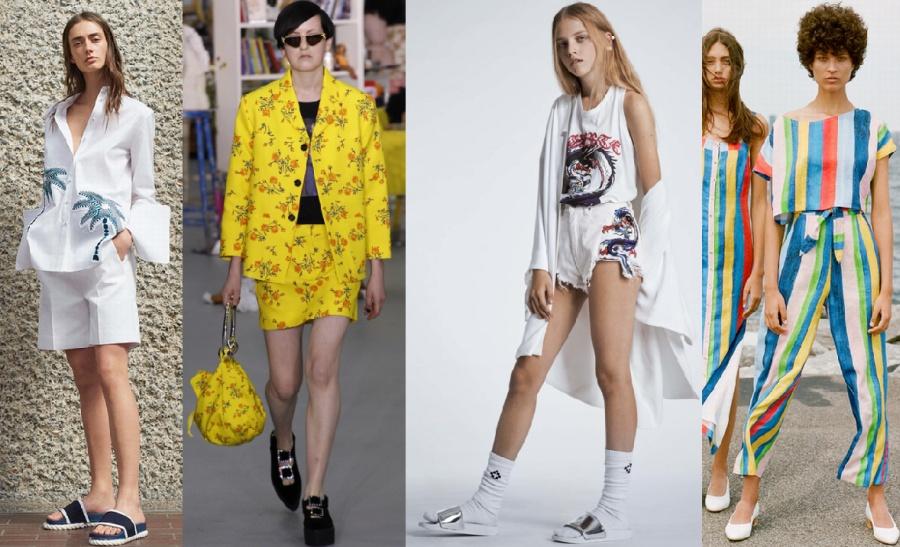 белый костюм с пальмами, летний женский комплект из желтой ткани в цветочек, летний костюм с драконами, пляжный костюм в полоску