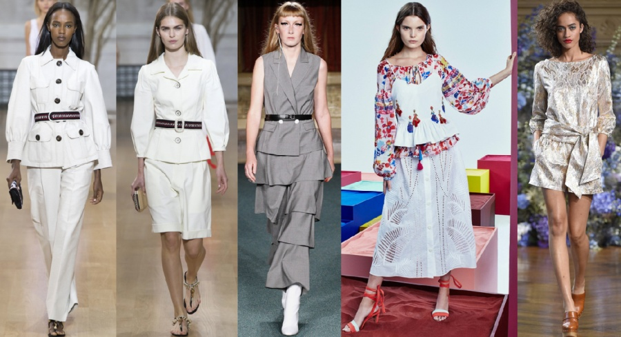 два белых летних деловых костюма брючный и с юбкой, серыйделовой летний костюм юбка воланами, двухслойный летний костюм с вышивкой, блестящая ткань шорты с блузой и пояс бантом