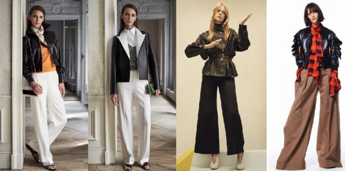 Кожаная куртка в сочетании с брюками