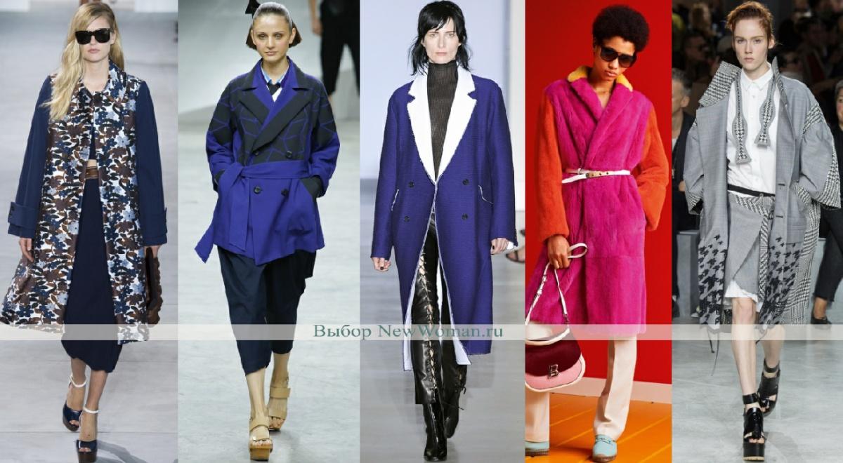 примеры комбинированных моделей дамского пальто весна 2017