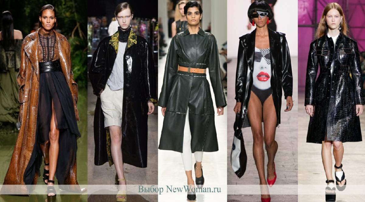 как выглядят модные кожаные пальто весны 2017