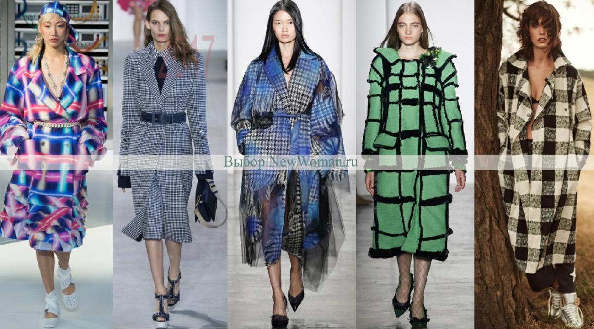 фото модных дизайнерских пальто 2017 в клетку