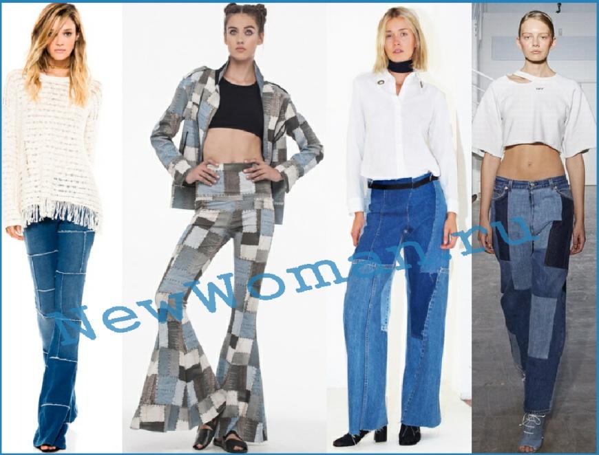 Модные джинсы, печворк, лоскутный деним 2016