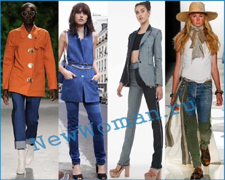 Модные джинсы 2016, двухцветные модели
