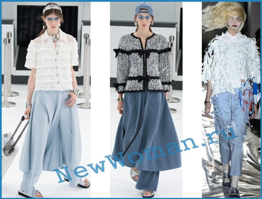 Многослойный деним от Chanel и Facetasm юбка поверх брюк