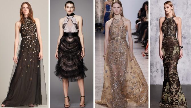 модели вечерних платьев с американсокой проймой