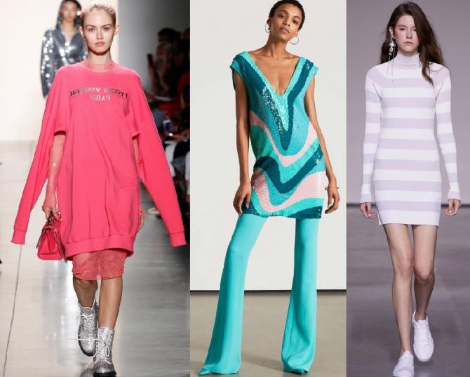 Какие платья-свитера модные в 2018 году:платье-свитшот с удлиненным рукавом и прорезями на рукавах, полосатый принт