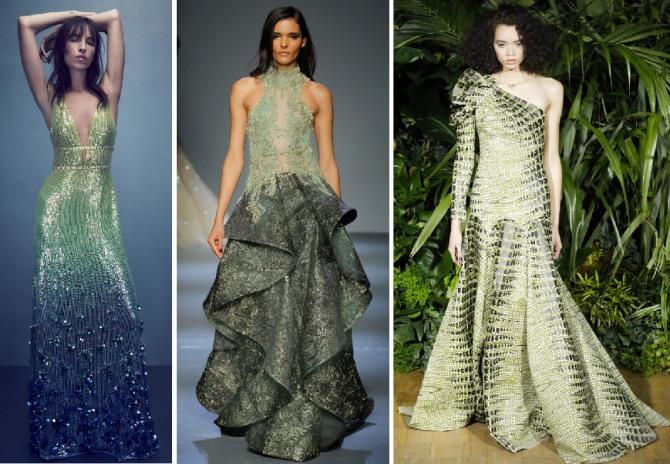 зеленое модное новогоднее платье 2019