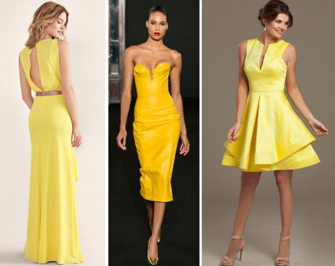 вечерние платья 2019 из ткани желтого цвета