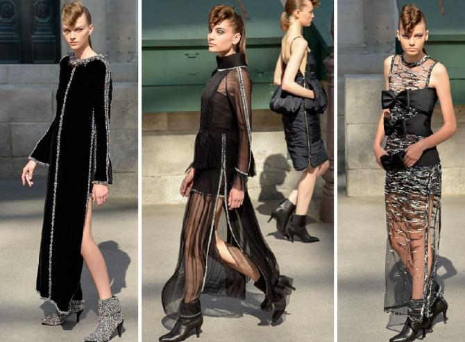 черное новогоднее платье в пол от Шанель