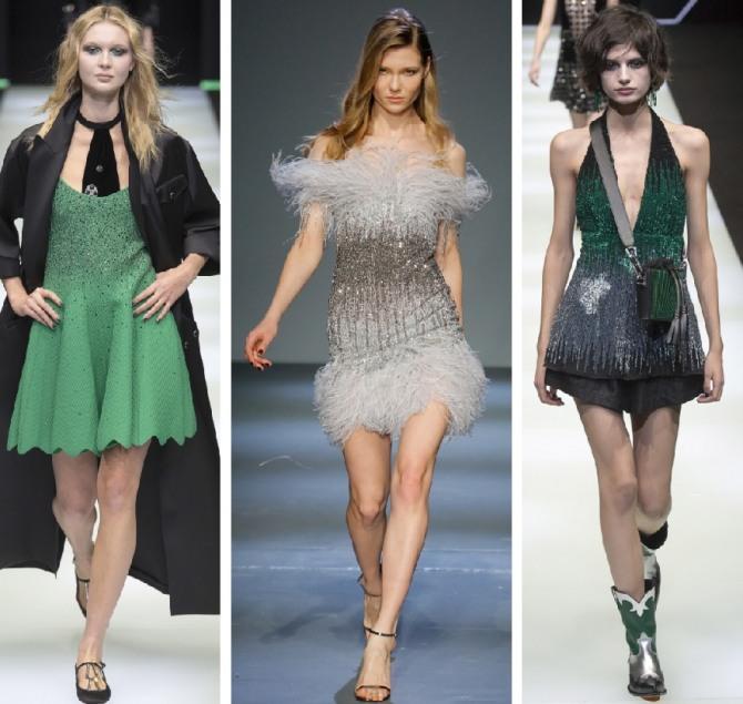 модное новогоднее платье 2019 года в зеленых и коричневых тонах