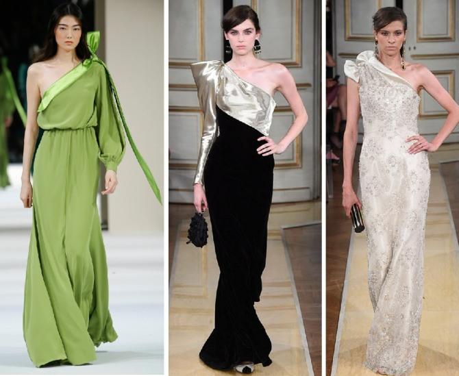 платья с одним закрытым плечом - асимметричный вечерний модный фасон для нового года