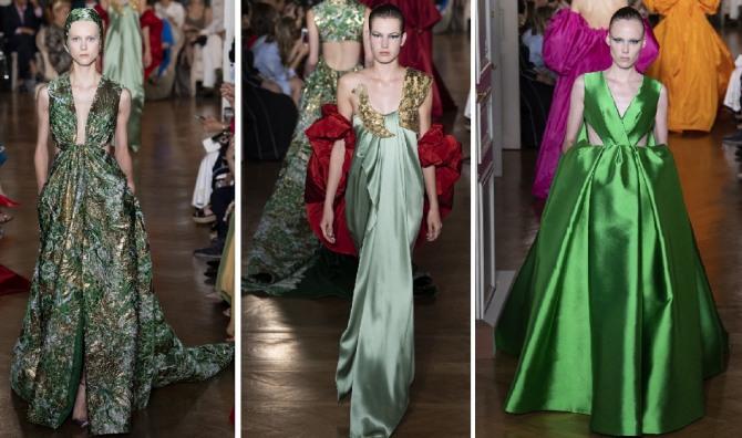 зеленое новогоднее платье 2019 с открытой спиной
