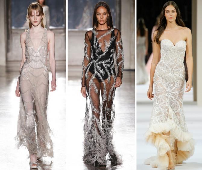 длинные новогодние модные платья макси из прозрачной ткани