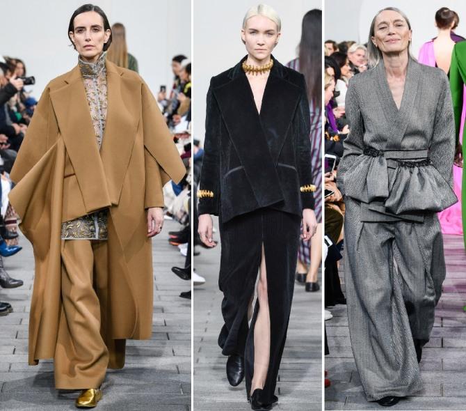 черный бархатный костюм и комплекты с широкими брюками для пожилых женщин с модных показов 2019 года
