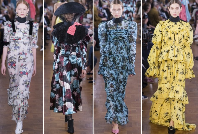 варианты нарядных платьев для пожилых женщин 2019 - с воланами, оборками, с цветочным принтом, длинным рукавом и до локтя