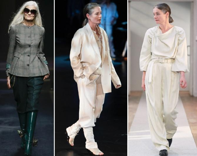 одежда для пожилых на весну - костюмы в клетку и пастельных тонов с широкими свободными брюками