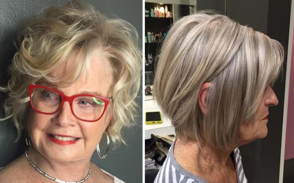 омолаживающие стрижки для женщин 60 лет со светлым окрашиванием седины