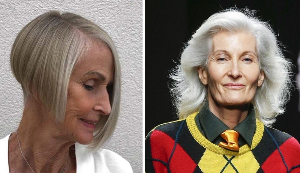женщины 70 лет - стрижка асимметрия и каскад