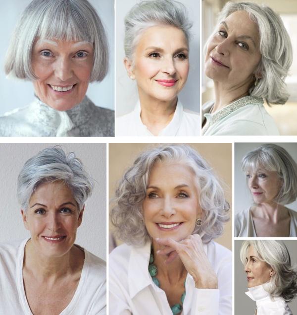 прически и стрижки для возрастных женщин с седыми волосами