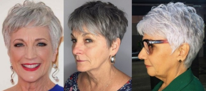 короткая стрижка для женщин 60 лет под мальчика - фото